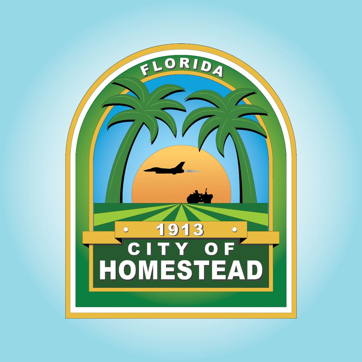 City Logo Blue Background